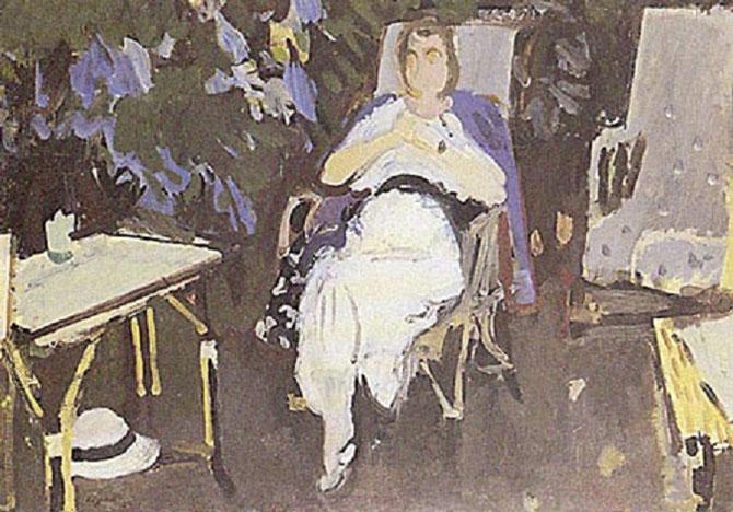 1932. MME EUGENE MORAND DANS SON JARDIN (née Marie-Louise CHARRIER 1867 + 1947) huile sur toile 65X83cm. Signé en bas à g. LEGUEULT.