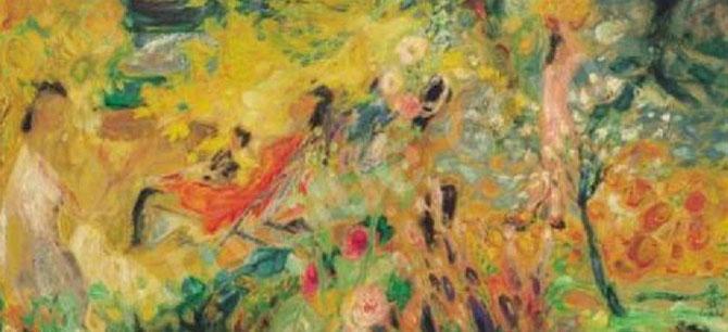 1er AVRIL 2001. CHRISTIE'S SINGAPOUR. FEMMES DANS LE JARDIN. HUILE SUR SOIE. (1958)