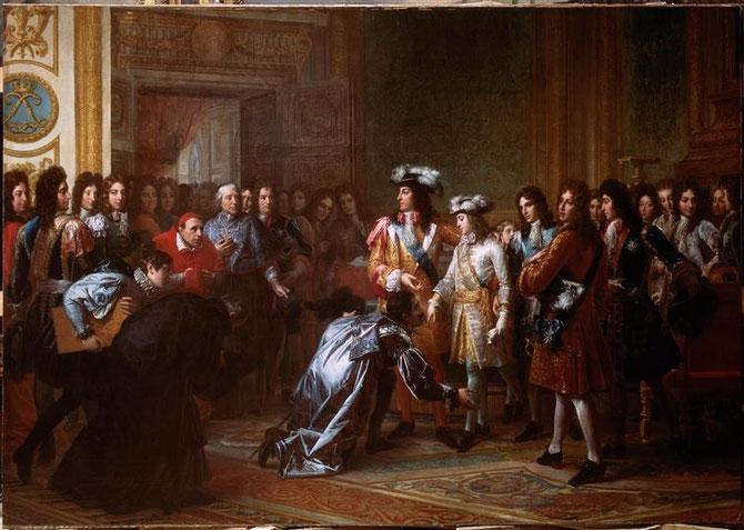 Baron François GERARD (1770 + 1837) : 16 Nov. 1700 LA RECONNAISSANCE DU DUC D'ANJOU,  PETIT-FILS DU ROI-SOLEIL, COMME ROI D'ESPAGNE SOUS LE NOM DE PHILIPPE  V ( 1683 + 1746).