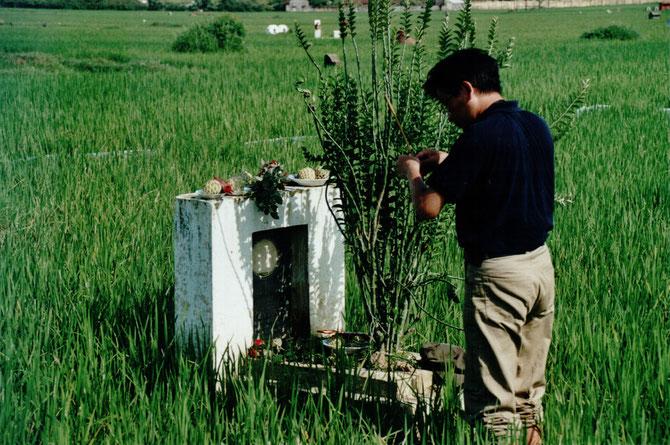 1997 KIM-KHÔI : CEREMONIE DEVANT LA TOMBE DE SON GRAND-PERE NAM SON. C* NGÔ KIM-KHÔI.