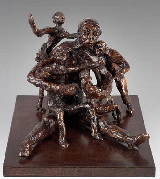 LA GRANDE FAMILLE 1988. E. Godard Fonderie (Bagneux). Cachet à la main. 1/6 . 30 X33 X 36 cm