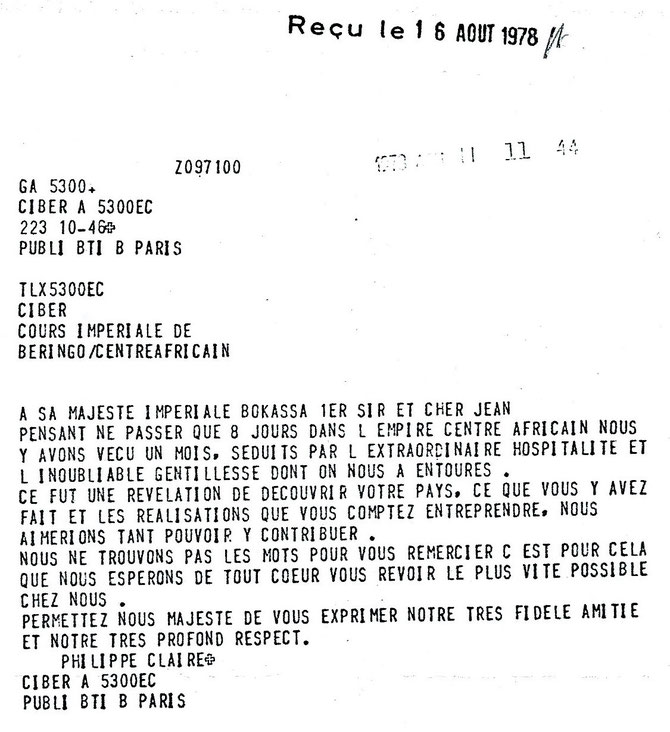 PHOTOCOPIE DU TELEGRAMME à S.M.I BOKASSA.