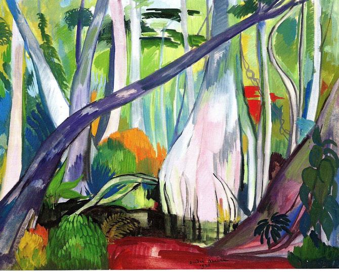 1950. VIETNAM, PAYSAGE AUX GRANDS ARBRES, GOUACHE SIGNEE ET DATEE  65 x 50cm. COLL. PRIVEE. C* GALERIE PENTCHEFF