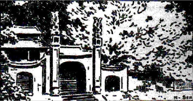 """NAM SON 1925. COPIE DE LA VIGNETTE """"CONG CHUA"""" ( ENTREE DE PAGODE). """" LES TITRES SONT INVENTéS POUR IDENTIFICATION CAR IL N'YA PAS DE TITRE ORIGINAL POUR LES CULS DE LAMPE OU VIGNETTES """".  NOTE et PHOTO de DINH T. H."""