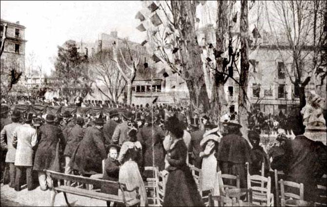 NÎMES. DIMANCHE 8 AVRIL 1900.  INAUGURATION DE LA STATUE D'ALPHONSE DAUDET (13 Mai 1840 NÎMES + 16 Déc. 1897 PARIS) .  C* nemausensis.