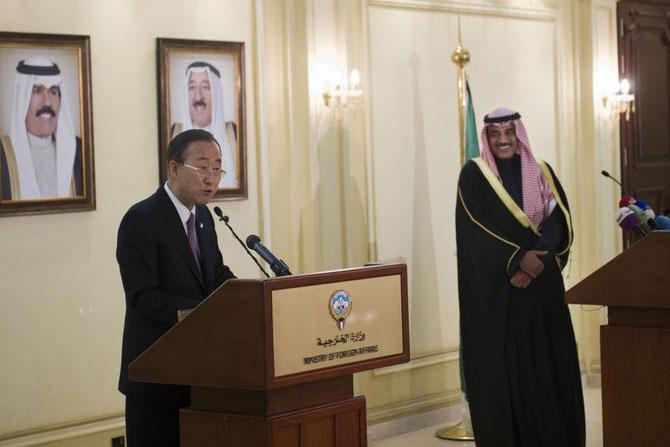 KOWEIT CITY. DEC. 2012. LE SECRETAIRE GENERAL DE L'ONU BAN-KI-MOON SE FELICITE DES MEILLEURES RELATIONS IRAK-KOWEIT.