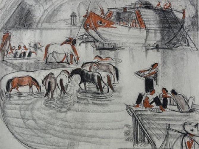 """1955 """"BORDS DU MEKONG"""" DESSIN PIERRE NOIRE, CRAYON BRUN, SANGUINE 65x50cm. P.122 """"ANDRE MAIRE PEINTRE VOYAGEUR"""""""