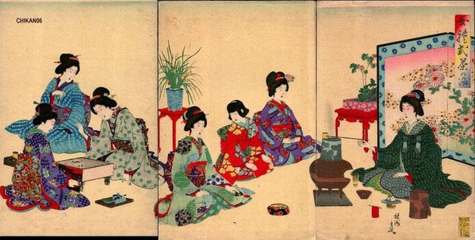 Toyohara CHIKANOBU (1838-1912). SCENES DE LA VIE QUOTIDIENNE. BELLES FEMMES, COIFFURE OCCIDENTALE, MAQUILLAGE.