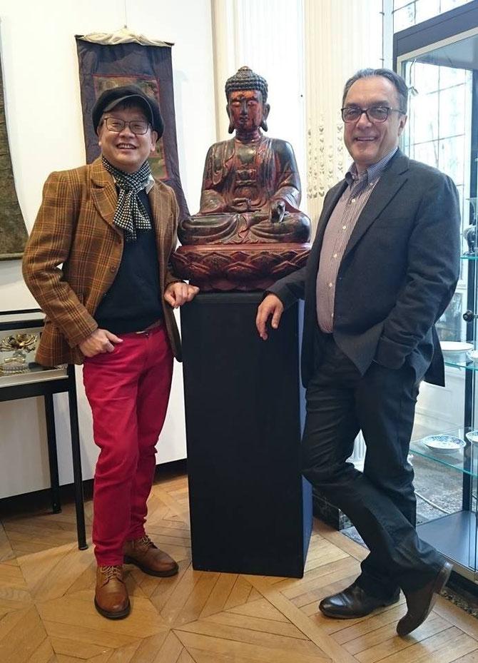 2015. PARIS. KIM-KHÔI et JEAN-LUC ESTOURNEL, EXPERT : BUDDHA VIETNAM, DYNASTIE DES LÊ 18è siècle. BOIS LAQUE. H. 80cm.