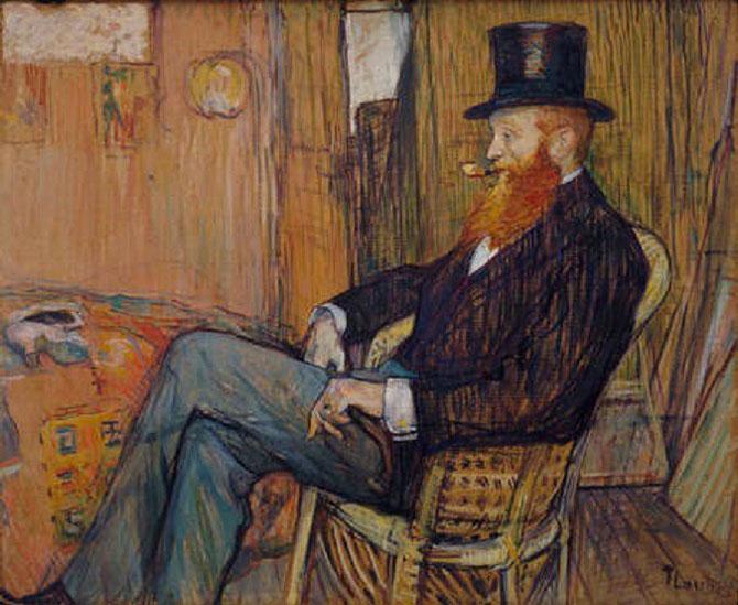 TOULOUSE-LAUTREC (1964-1901). Monsieur de Lauradour, 1897. HUILE ET GOUACHE sur Carton 26 3/4X32/1/2 in.