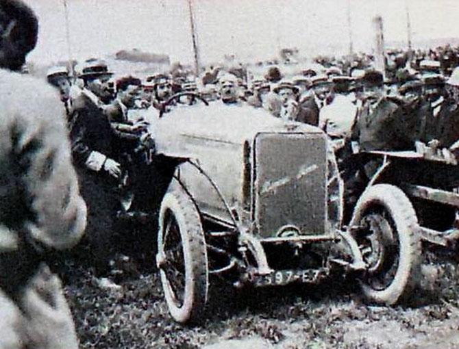 """1921 BOULOGNE SUR MER.  A.D. REMPORTE LA 1ère COUPE des voiturettes Georges BOILLOT  avec une   HISPANO-SUIZA  7L. 6 cylindres 32CV """"SPECIALE"""" améliorée par ses soins 104,7km/h sur  374kms"""