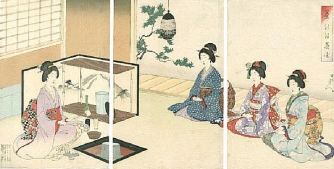"""Toyohara CHIKANOBU ( 26 SEPT.1838- 29 SEPT.1912), UN DES DERNIERS MAÎTRES DE L'ESTAMPE. CEREMONIE DU THE de la série """"ETIQUETTES ET MANIERES"""". TRANSITION ENTRE L'UKIYO-E ET LE SHIN-HANGA. NOM D'ARTISTE : YOSHI CHINAKOBU. VRAI NOM : HASHIMOTO NAOYOSHI."""