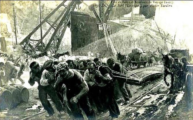 """LE PORT DE LIVERPOOL PAR VICTOR TARDIEU, PRIX DU SALON DE LA SOCIETE DES ARTISTES FRANCAIS 1902   AVEC SA TOILE INTITULEE """" TRAVAIL """" QUI LUI PERMET D'OBTENIR UNE BOURSE DE DEUX ANS POUR VOYAGER EN EUROPE : IL PEINT LES PORTS DE GÊNES, LONDRES, LIVERPOOL"""