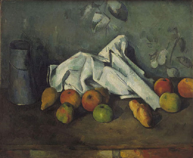"Paul CEZANNE . ""MILK CAN and APPLES""  Huile sur toile   19/3/4 X 20 pouces .  Coll. Bill PALEY. (MOMA)"