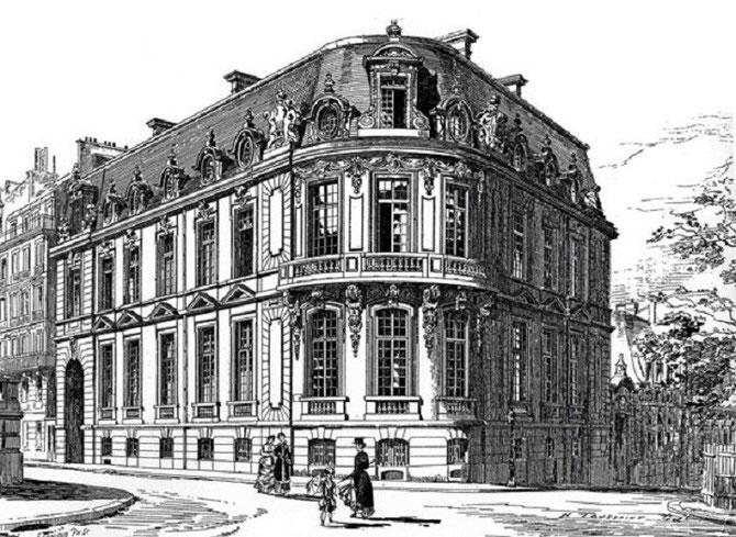 2 RUE DE BASSANO PARIS 16è. CONSTRUIT EN 1880 PAR GABRIEL-HIPPOLYTE DESTAILLEUR. CLASSE BÂTIMENT REMARQUABLE.