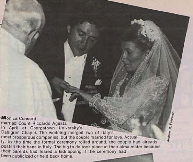 WASHINGTON. SAMEDI 21 AVRIL 1979. MARIAGE RELIGIEUX DU COMTE RICCARDO AGUSTA, 28 ANS, AVEC MISS MONICA CONSORTI