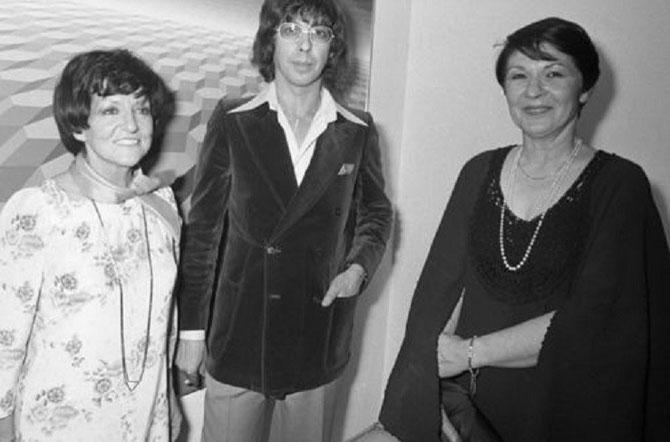 1976. AVEC DENISE RENE LA PAPESSE DE L'ART ABSTRAIT (1912-2012) et JEAN-PIERRE VASARELY, dit YVARAL (1934-2002) fils de VICTOR et CO-FONDATEUR EN 1960 DU GRAV (Groupe de Recherche d'Art Visuel). PHOTO LASKI/SIPA/SIPA