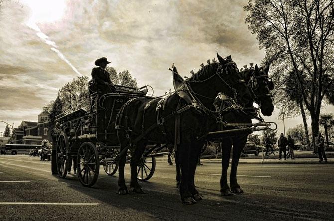 Le cercueil du Général VAN PAO est  dans un corbillard tiré par deux chevaux noirs.
