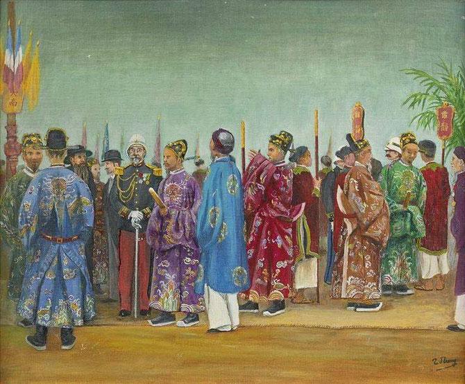 1903. MANDARINS ET AUTORITES FRANCAISES ATTENDANT L'ARRIVEE DE L'EMPEREUR THANH THAI. Tableau de TRAN DUC TRONG