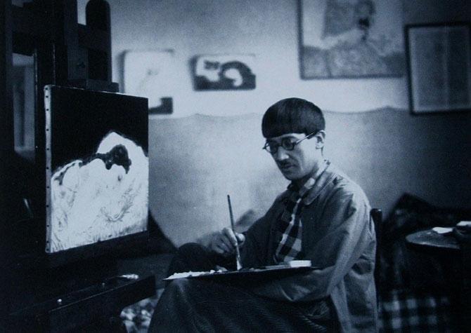 """1925. RENCONTRE AVEC FOUJITA (1886-1968) QUI VIENDRA à HANOI EN 1941. INSTALLE  DANS L' ATELIER DE NAM SON QUI AIDA SON AMI """"PARISIEN"""" à TROUVER DES MODELES, IL FIT SON PORTRAIT"""