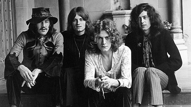 1968. LONDRES. FORMATION DE LED ZEPPELIN. g. dte. JOHN BONHAM +1980, batterie, JOHN PAUL JONES basse, clavier, ROBERT PLANT chanteur, JIMMY PAGE guitare.
