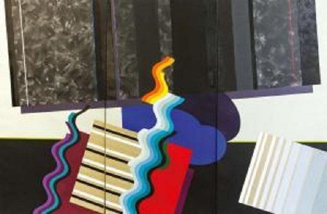 MOHAMED MEHELI. SANS TITRE 2011. TRYPTIQUE ACRYLIQUE SUR TOILE ET COLLAGE 200X300cm Daté et signé au dos de chaque toile