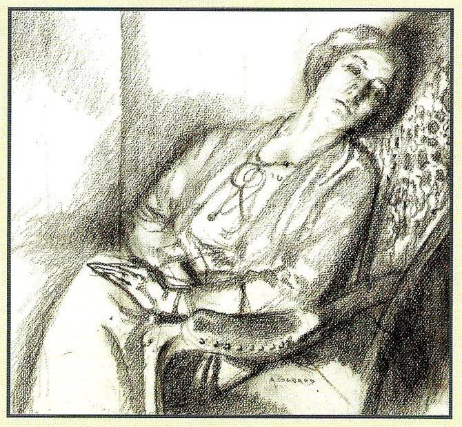 MADAME LOMBARD, CRAYON SUR PAPIER, SIGNE EN BAS à DROITE. 30,5 X 29cm