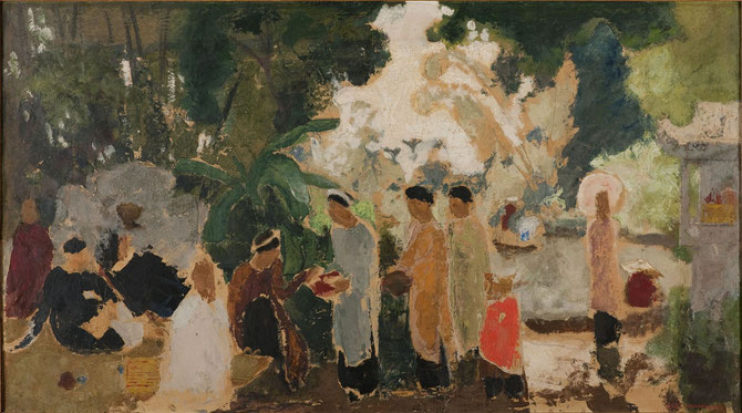 1932. GROUPE DE FEMMES. HUILE SUR TOILE 67 X 115 cm. ANCIENNE COLLECTION M. VOUZELLE-ALBRET. COLLECTION Mr. et Mme JACQUES BARRERE.