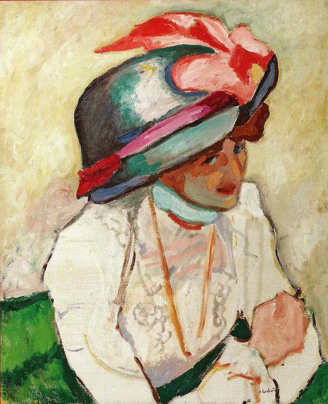 1909. FEMME AU GRAND CHAPEAU. Huile sur toile, cachet en bas à droite, 92 X 73cm. COLLECTION GALERIE PENTCHEFF. MARSEILLE