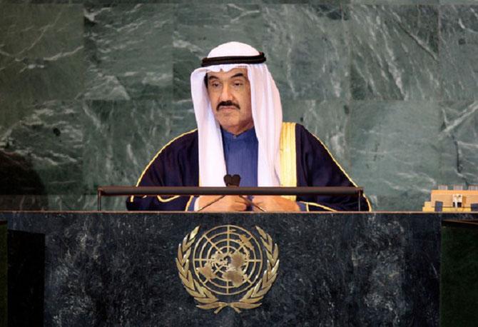 S.A SHEIKH NASSER AL-MOHAMED AL-SABAH, PETIT-FILS et NEVEU DE TROIS SOUVERAINS DE L'EMIRAT DU KOWEIT à LA TRIBUNE DE L'ONU