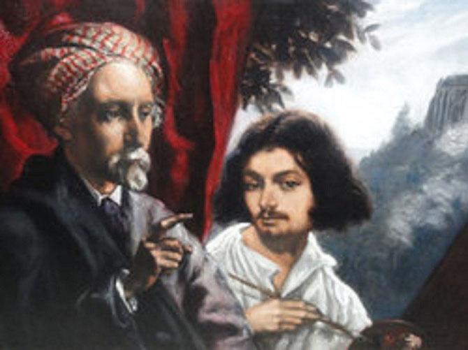 1918. EMILE BERNARD ET ANDRE MAIRE EN BAS DE L'EGLISE SAINT PIERRE à TONNERRE. TOILE PEINTE PAR LES 2 ARTISTES.