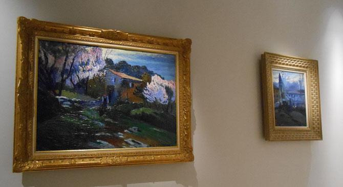 à  gauche.  CERISIERS EN FLEURS AUX ENVIRONS D'  ALLAUCH. Huile sur toile, signée en bas à dte.  47 X 73 cm.  à droite. BATEAU BLEU (ci-dessous)
