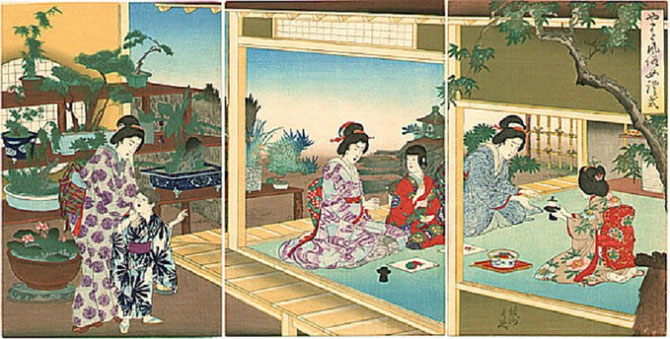 Toyohara CHIKANOBU (20 Sept. 1838 - 29 SEPT. 1912). MAISON DE THE. TRYPTIQUE