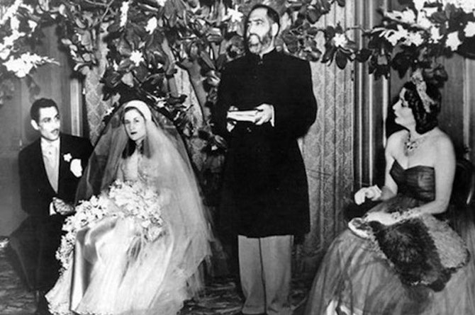 25 AVRIL 1950. SAN FRANCISCO. HOTEL FAIRMONT. MARIAGE DE LA PRINCESSE FATHIA ( 1930-1976) AVEC RIAD GHALI (1919-1978)