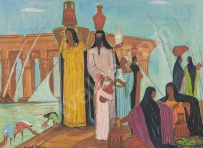 PORTEUSES D'EAU EN EGYPTE . AQUARELLE.  C* ADAGP PARIS 2013.