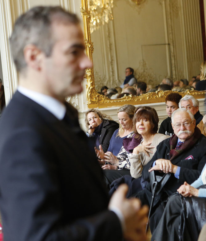 Franck FERRAND  face à Micky WOLFSON et  (g. à dte.) : Colette MONSAT, Journaliste au FIGARO, Madeleine LEFEBVRE-GUERMONPREZ,  Françoise SOUCHON la BéLOTE d'ALAIN SOUCHON