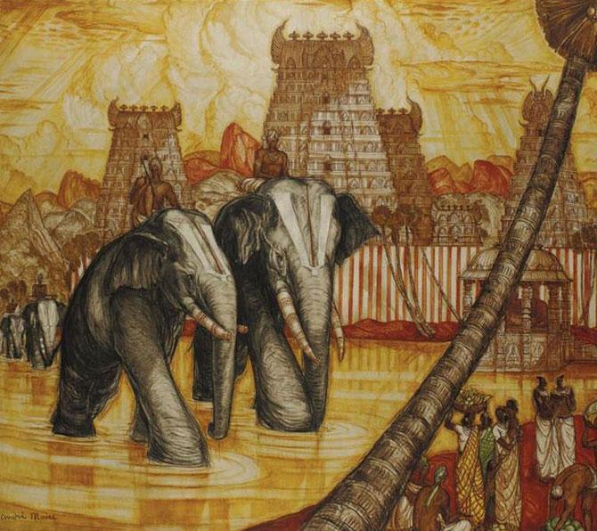 MADURAÏ. ELEPHANTS SACRES. HUILE SUR TOILE. 180 X 160cm.