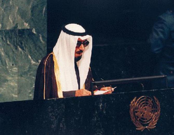 DECEMBRE 1990. S.A L'EMIR JABER DU KOWEÏT à LA TRIBUNE DES NATIONS UNIES.