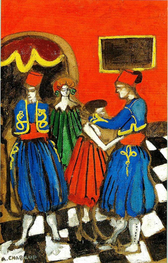 LES TIRAILLEURS  vers 1907. Huile sur carton, signée en bas à gauche, 79 X 50 cm. C* G. & A. PENTCHEFF