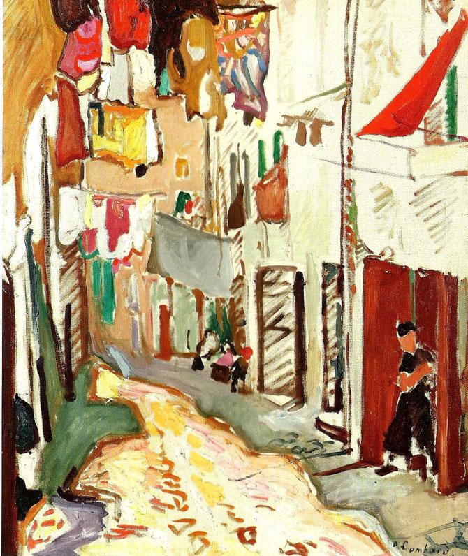 1907. RUE BOUTERIE à MARSEILLE. Huile sur toile, signée en bas à droite 91,5 X 72,5cm. Collection GALERIE PENTCHEFF. MARSEILLE