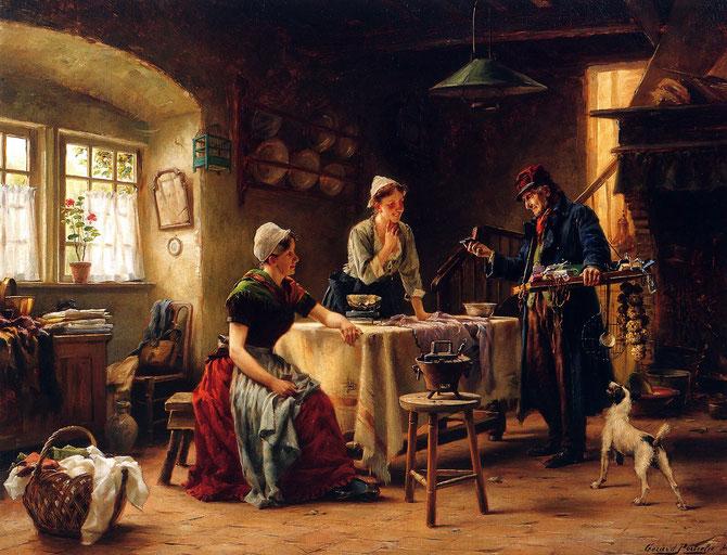 LE COLPORTEUR  par GERARD PORTIELJE (1856  + 1929)