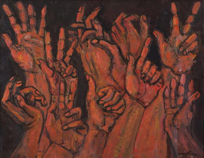 DANSE 1975. Huile sur toile 76 X 116 cm. De MARTINE MARTINE Peintre, Sculpteur, Mécène française.