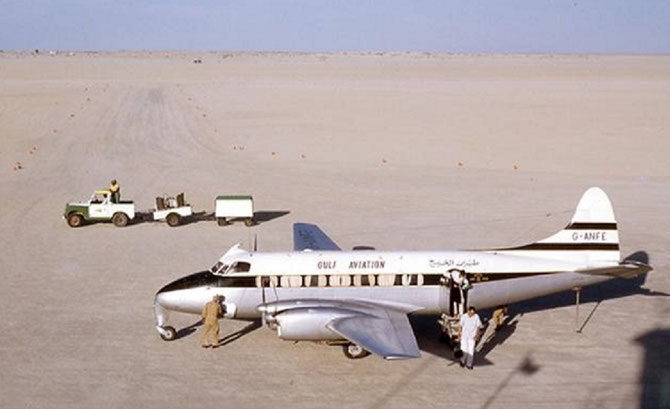 DUBAI 1960.  LE PREMIER JET  -  HERON -- DE LA GULF AVIATION.