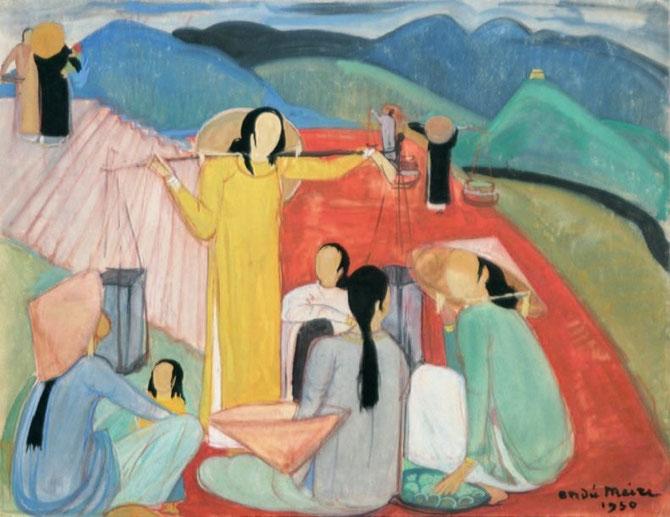 """1950. """"MARCHE DE DALAT"""", GOUACHE SUR PAPIER 65 x 49cm. SIGNEE, DATEE bas droite."""