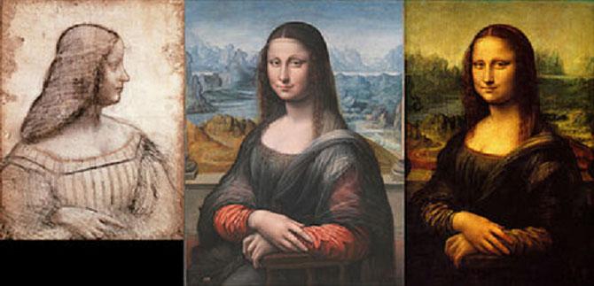 g.à dte. 1/ LEONARD DE VINCI 1499  ISABELLE D'ESTE. 2/ LEONARD DE VINCI atelier 1502-1506 LA JOCONDE PRADO, MADRID, nettoyée en 2012. 3/ LEONARD DE VINCI atelier 1502-1506  LA JOCONDE DU LOUVRE DONT LES COULEURS VERDÂTRES SONT DUES à DES PIGMENTS OXYDES.