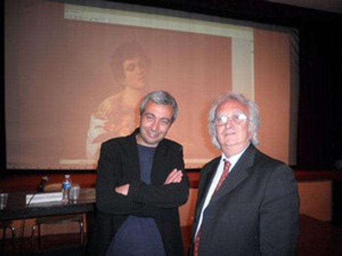 """FEVRIER 2012. LE PR. ELIO TRAINA et le PR.FRANCESCO GALLUZZI QUI ENSEIGNE L'ESTHETIQUE à L'ACADEMIE DES BEAUX-ARTS DE CARRARE (""""PASOLINI E LA PITTURA"""" -1994) . SON OUVRAGE EXPOSANT SA RECHERCHE SUR L'ART et LE SPIRITISME EST ATTENDU  AVEC IMPATIENCE."""