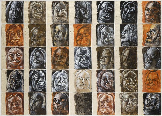 MEMOIRES BALZAC II. 2011. 35 lavis encre de Chine et couleurs   103 X 140 cm