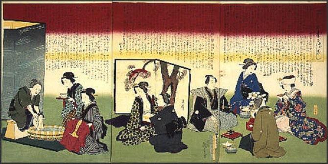 Utawaga HIROSHIGE III (1797-1858).  ESTAMPE SUR BOIS vers 1880. MUSEE EDO TOKYO. CEREMONIE DU THE.
