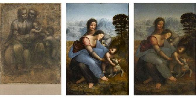 L'ULTIME CHEF-D'OEUVRE DE LEONARD DE VINCI, INACHEVE à SA MORT EN 1519 : SAINTE ANNE, LA VIERGE ET L'ENFANT JESUS, 3 GENERATIONS. UN CHEMINEMENT SPIRITUEL DE 20 ANS. VERITABLE ABOUTISSEMENT DE SES RECHERCHES SUR LA NATURE ET L'ART