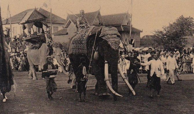 """DEFILE D'ELEPHANTS ROYAUX. LE 2è ELEPHANT EST UN ELEPHANT """"BLANC"""", TRES RARE"""